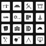 Geplaatste bouwpictogrammen, eenvoudige stijl Royalty-vrije Stock Fotografie