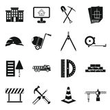 Geplaatste bouwpictogrammen, eenvoudige stijl Royalty-vrije Stock Afbeelding