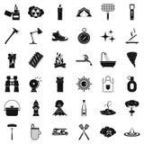 Geplaatste brandblusapparaatpictogrammen, simle stijl Stock Fotografie