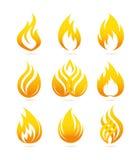 Geplaatste brandpictogrammen Stock Afbeeldingen