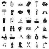 Geplaatste brandpictogrammen, simle stijl Royalty-vrije Stock Foto's