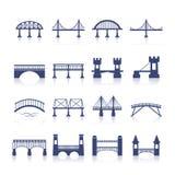 Geplaatste brugpictogrammen Stock Afbeeldingen