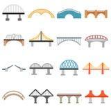 Geplaatste brugpictogrammen, vlakke stijl Stock Foto's