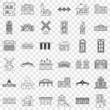 Geplaatste bungalow de pictogrammen, schetsen stijl stock illustratie
