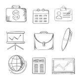 Geplaatste bureau en bedrijfspictogrammen, schetsstijl Royalty-vrije Stock Afbeelding