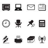 Geplaatste bureauhulpmiddelen en kantoorbehoeftenpictogrammen Stock Afbeeldingen