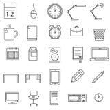Geplaatste bureaupictogrammen Royalty-vrije Stock Afbeeldingen