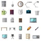 Geplaatste bureaupictogrammen Stock Afbeelding