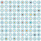 100 geplaatste bureaupictogrammen, beeldverhaalstijl stock illustratie