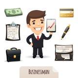 Geplaatste Businessmanspictogrammen Stock Afbeelding