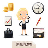 Geplaatste Businesswomanspictogrammen Stock Foto's