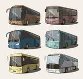 Geplaatste buspictogrammen Stock Foto's