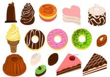 Geplaatste cakes en desserts Stock Foto