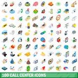 100 geplaatste call centrepictogrammen, isometrische 3d stijl Stock Afbeeldingen