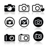 Geplaatste camerapictogrammen Stock Afbeeldingen
