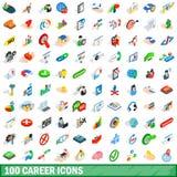 100 geplaatste carrièrepictogrammen, isometrische 3d stijl Stock Foto's