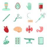 Geplaatste chirurgiepictogrammen Stock Foto's