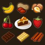 Geplaatste chocoladepictogrammen stock illustratie