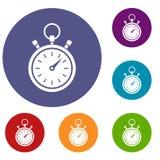 Geplaatste chronometerpictogrammen Royalty-vrije Stock Fotografie