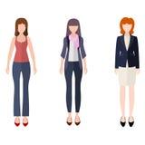 Geplaatste cijfers van het pictogrammensen van de vrouwen de vlakke stijl Stock Foto