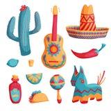 Geplaatste Cincode Mayo Mexicaanse illustraties Stock Foto
