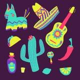 Geplaatste Cincode Mayo Mexicaanse illustraties Stock Afbeelding