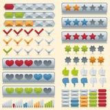 Geplaatste classificatiepictogrammen Stock Foto