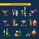 Geplaatste cocktailspictogrammen Stock Foto