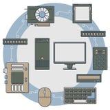 Geplaatste computerdelen Stock Afbeelding