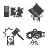 Geplaatste computergegevens Beschadigde pictogrammen Royalty-vrije Stock Afbeeldingen
