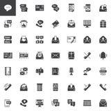Geplaatste contact en communicatie vectorpictogrammen royalty-vrije illustratie