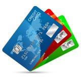 Geplaatste creditcards Stock Afbeelding