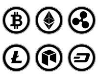 Geplaatste Cryptocurrencymuntstukken Royalty-vrije Stock Fotografie