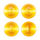 Geplaatste Cryptocurrencyspictogrammen, Bitcoin, Ethereum, Litecoin en dollar, gouden muntstukken met geïsoleerd cryptocurrencysy Stock Foto's