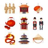 Geplaatste cultuurpictogrammen Traditionele Chinese elementen Vectorillustratie in beeldverhaalstijl Stock Foto's