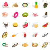 Geplaatste Cupcakepictogrammen, isometrische stijl Royalty-vrije Stock Foto
