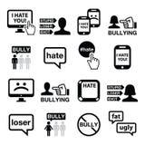 Geplaatste Cyberbullyings vectorpictogrammen Stock Foto's