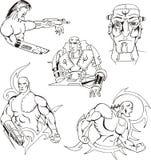 Geplaatste Cyborgs en Robots royalty-vrije illustratie