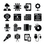 Geplaatste datacommunicatiepictogrammen vector illustratie