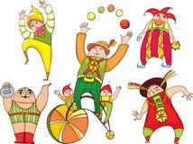Geplaatste de actoren van het circus Royalty-vrije Stock Foto's