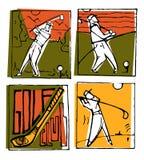 Geplaatste de affiches van golfclubpictogrammen royalty-vrije illustratie
