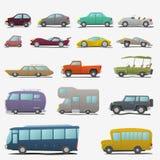 Geplaatste de Auto's van het beeldverhaal Royalty-vrije Stock Afbeeldingen