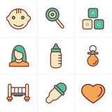 Geplaatste de Babypictogrammen van de pictogrammenstijl Royalty-vrije Stock Afbeeldingen