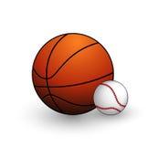 Geplaatste de ballensymbolen van het honkbal en van het basketbal Royalty-vrije Stock Foto's