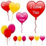 Geplaatste de Ballons van de Dag van valentijnskaarten Stock Afbeeldingen