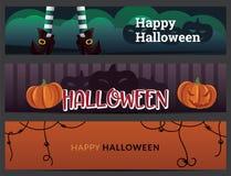 Geplaatste de banners van Halloween Royalty-vrije Stock Afbeeldingen