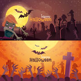 Geplaatste de banners van Halloween Stock Foto
