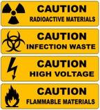 Geplaatste de banners van het voorzichtigheidsteken vector illustratie