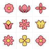 Geplaatste de Bloempictogrammen van de pictogrammenstijl, Vectorontwerp Royalty-vrije Stock Afbeeldingen