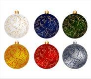 Geplaatste de bollen van Kerstmis Royalty-vrije Stock Foto's